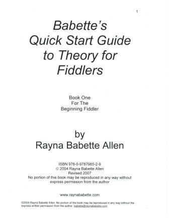 Babette's Quick Start Guide to Theory for Fiddlers Book One -- PDF
