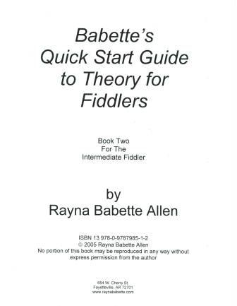 Babette's Quick Start Guide to Theory for Fiddlers Book Two -- PDF